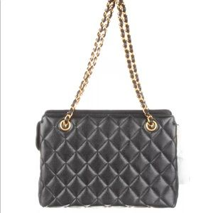 CHANEL Black Quilted Caviar Chain Shoulder Bag